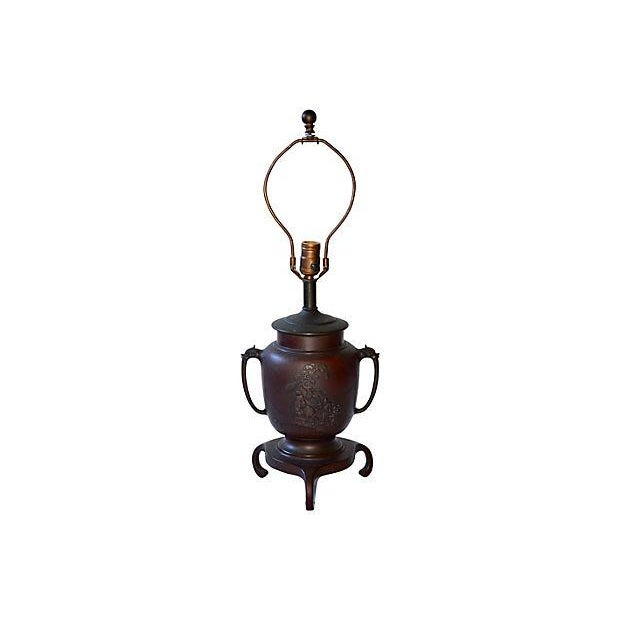19th-Century Japanese Bronze Lamp - Image 5 of 7