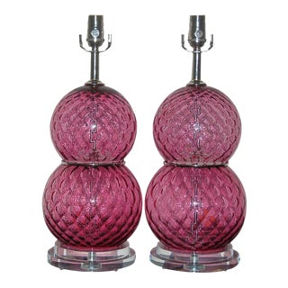 Vintage Murano Glass Table Lamps Cranberry For Sale