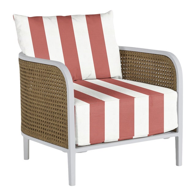 Havana Lounge Chair in Bistro Stripe Flamingo For Sale