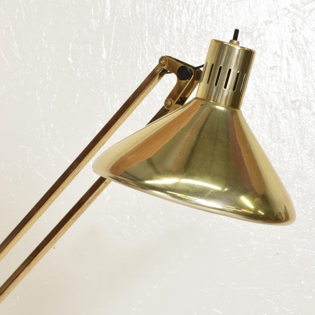 1970s Mid-Century Modern Vintage Brass Floor Drafting Architect Lamp by Luxo For Sale - Image 5 of 8