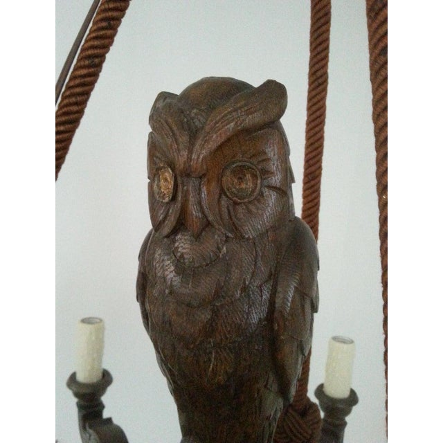 Antique 1920s Black Forest Style Chandelier With Owl For Sale - Image 4 of 9
