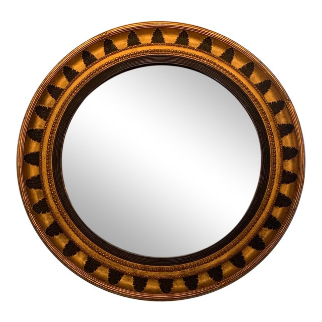 Round Regency Black and Gold Mirror For Sale