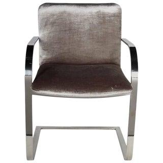 Mid-Century Chrome and Velvet Desk Chair by Brueton For Sale