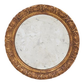 Round Gold Leaf Restauration Period Mirror