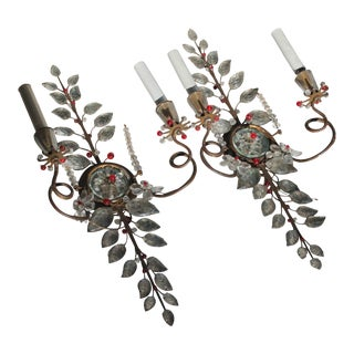Antique 1910s Maison Bagues Ruby Red/ Cut Crystal Metalwork Sconces - a Pair For Sale