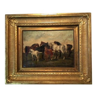 19th Century Antique Oil on Canvas Gilt Framed Horse Painting For Sale