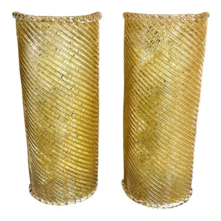 Murano Gold Infused Wall Sconces - A Pair For Sale