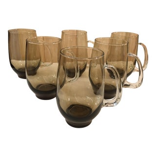 MCM Smokey Handled Beer Glasses - Set of 6