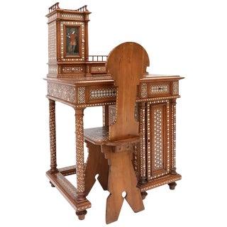 Antique Oriental Writing Desk with Bone Inlay