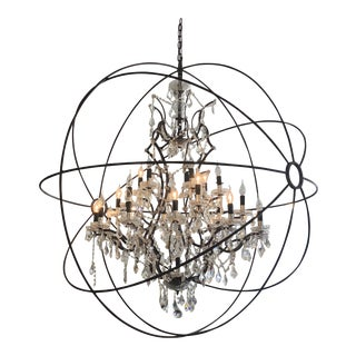 Restoration Hardware Foucault's Orb Clear Crystal Chandelier For Sale