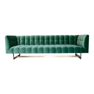 Modern Emerald Velvet + Brass Base Sofa