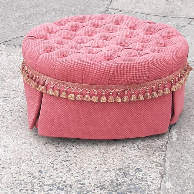 """Round Tufted Upholstered Ottoman fabric skirted 36"""" d 17""""h x 36"""" d Custom made, on castors."""