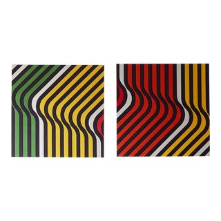 1970s Vintage Fabric Op-Art Panels- a Pair For Sale