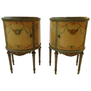 Pair of 1920s Marble-Top Adams Style Demilunes For Sale