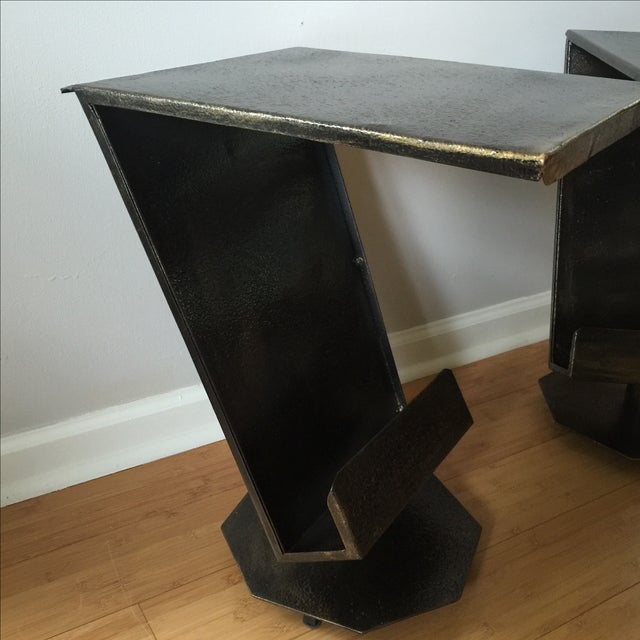Art Deco Artist Bronze Patina Side Tables - A Pair - Image 3 of 7