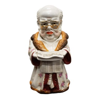 Late 19th Century German Porcelain Man Reading Times Newspaper Figural Tobacco Jar For Sale