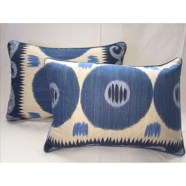 Emil Blue Ikat Pillows - A Pair - Image 3 of 4