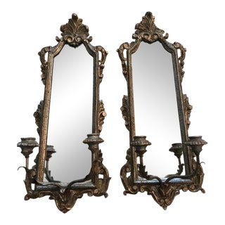 Early 20th Century Early 20th Century Mid Century Italian Mirror Candle Sconces - a Pair For Sale