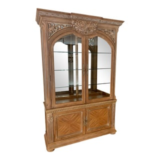 Bernhardt Italian Inspired Athen China Hutch With Interior Lighting and Base For Sale