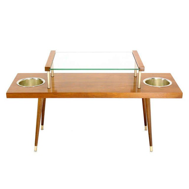 Early 20th Century Mid-Century Modern Walnut and Glass-Top Console Table With Planters For Sale - Image 5 of 10