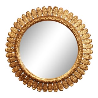 Large Mid-20th Century, French Carved Giltwood Sunburst Mirror For Sale