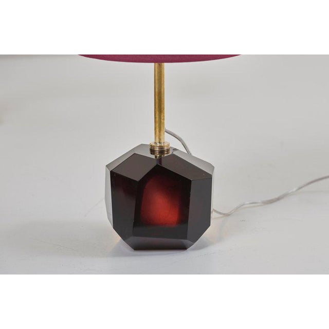 Pair of Diamond Shape Murano Glass Table Lamps For Sale - Image 9 of 11