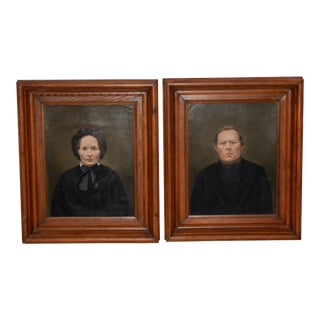 Mid 19th Century Amish Oil Portraits C.1850s For Sale