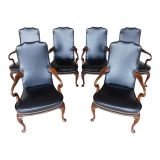 Hickory Chair Regency Style Mahogany Library Arm Chairs - a Set of 6 For Sale