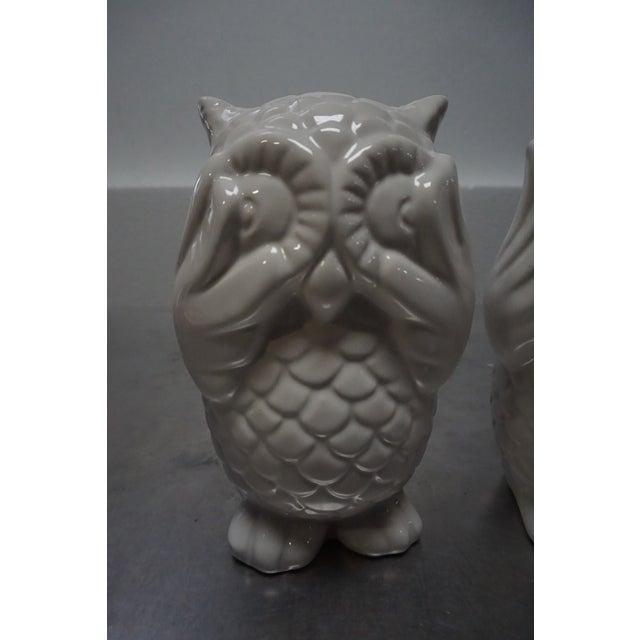 Small White Ceramic Owls- Set of 3 - Image 3 of 8