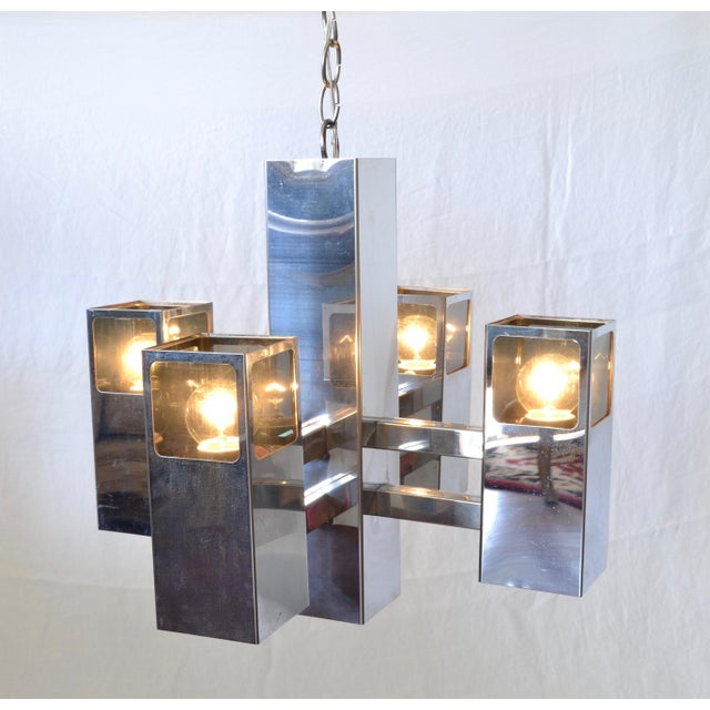 Mid-Century Modern Vintage Chrome Space Age Chandelier For Sale - Image 3 of 5