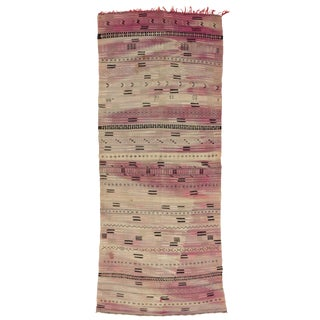 Reversible Vintage Moroccan Striped Kilim Rug With Postmodern Memphis Style - 5′5″ × 13′10″ For Sale