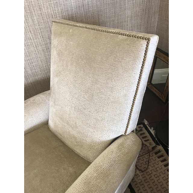 Beautifully upholstered Edward Ferrell-Lewis Mittman tight back reclining club chair with a removable head pillow. This...