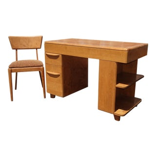 Vintage Mid Century Modern Heywood Wakefield Writing Desk and Chair For Sale