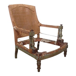French 19th Century Armchair Frame With Green Painted Wood