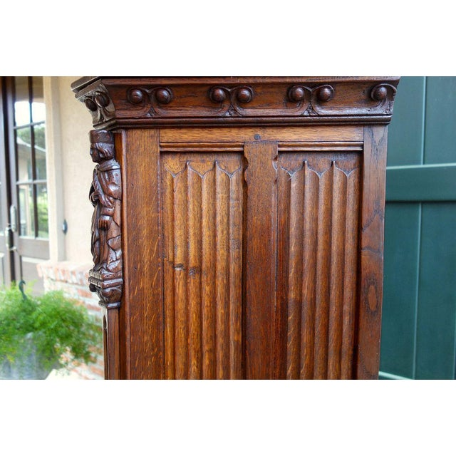 Wood Antique French Carved Oak Gothic Vestment Cabinet For Sale - Image 7 of 11