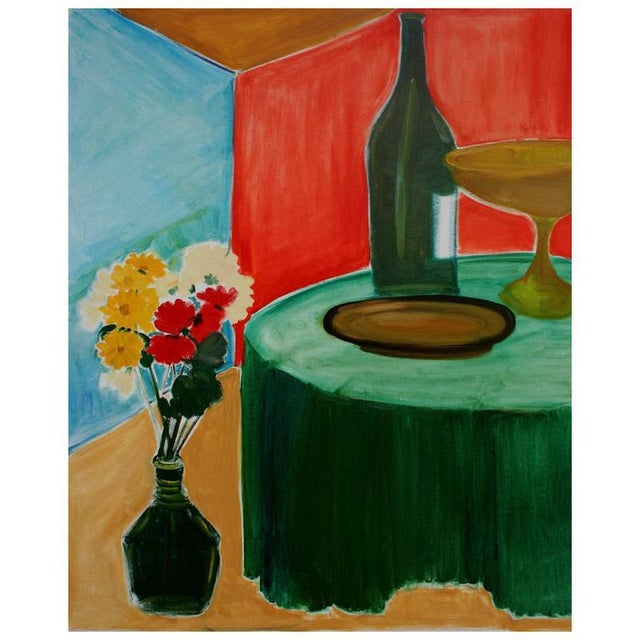 Abstract Expressionism Flowers and Wine Still Life For Sale - Image 3 of 3