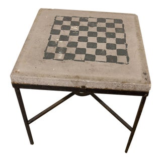 Industrial Checker Board Cement Patio Table