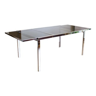 Milo Baughman Parson Style Extending Dining Table, Chrome and Smoked Glass For Sale