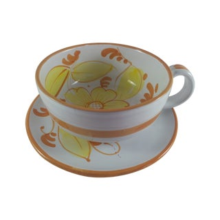 Oversized Italian Yellow Floral Cup & Saucer For Sale