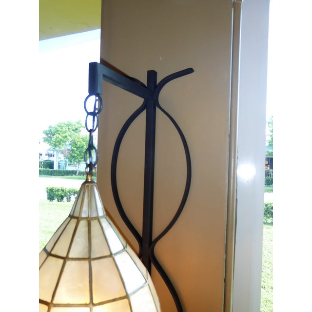 Ceramic Mid Century Moderm Capiz Shell and Wrough Iron Sconce Wall Light, N1960s For Sale - Image 7 of 13