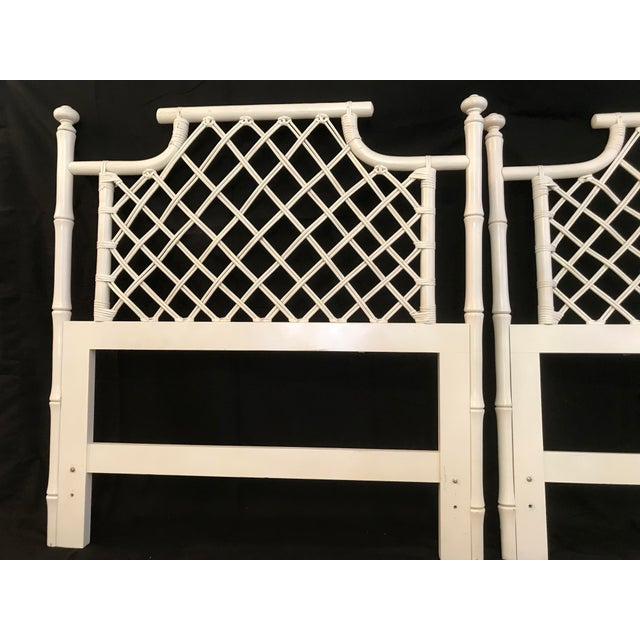 1970s Ficks Reed Twin or King Faux Bamboo Hollywood Regency Pagoda Headboards - a Pair For Sale - Image 11 of 13