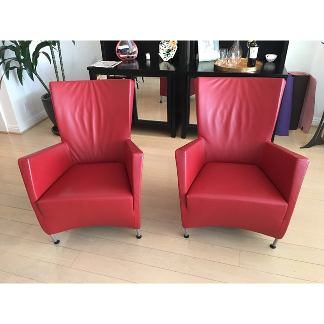 Astonishing Montis Windy Red Leather Chairs A Pair Beatyapartments Chair Design Images Beatyapartmentscom