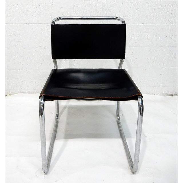 Nico Zograph Chrome Leather Sling Chairs - S/4 - Image 3 of 10