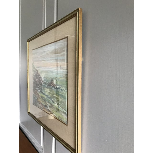Metal Vintage Mid-Century Colorful Pastel Seascape Drawing For Sale - Image 7 of 8