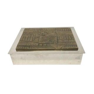 1930s Art Deco SilverJewelry Box With Bronze Relief For Sale