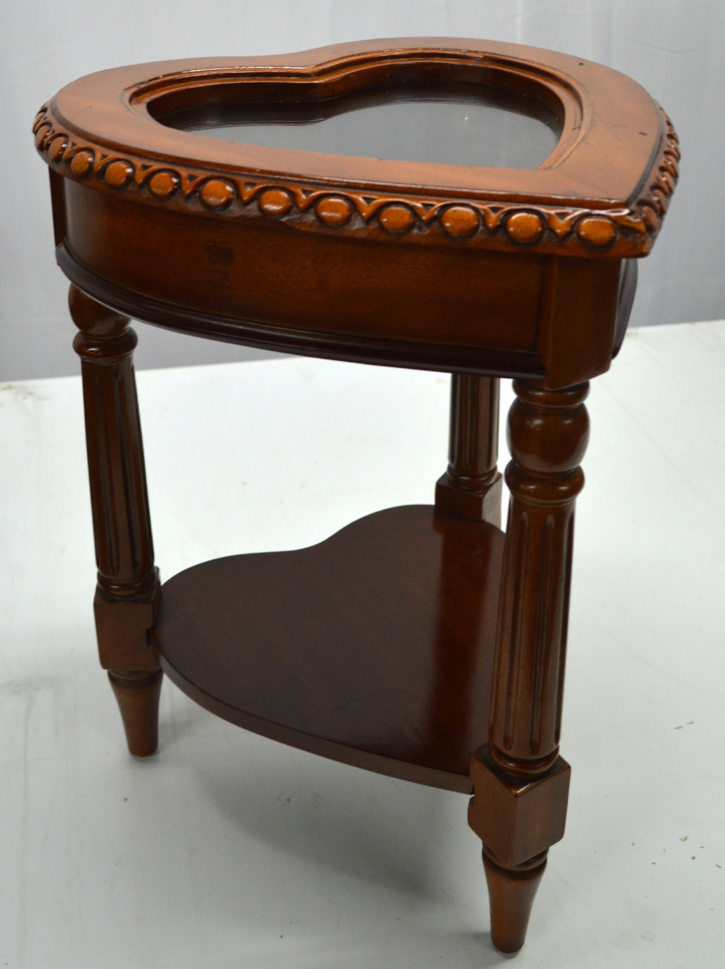 Delicieux Accent Table With Top Display Case With Glass. Carved Wood Frame Makes  Emphases In The