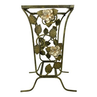 Tole Metal Sculptural Garden Table For Sale