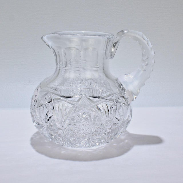 Glass Small Antique Squat Cut Glass Juice or Cocktail Pitcher For Sale - Image 7 of 13
