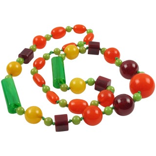 Bakelite Necklace Extra Long Shape Tutti Frutti Colors Marble Beads For Sale