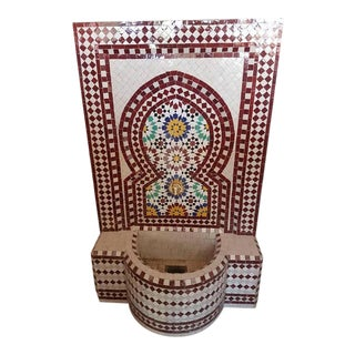 Brick Red Moroccan Mosaic Fountain For Sale